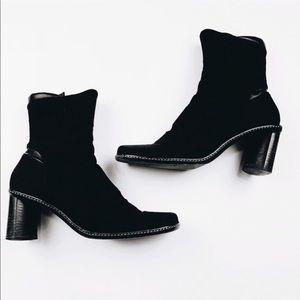 Goffrodo Fantini Block Heel Ankle Booties 37.5 7.5